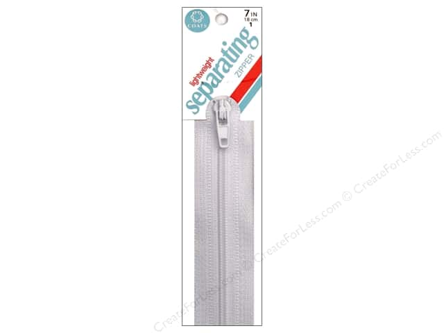 Coats Lightweight Coil Separating Zipper 7 in. White