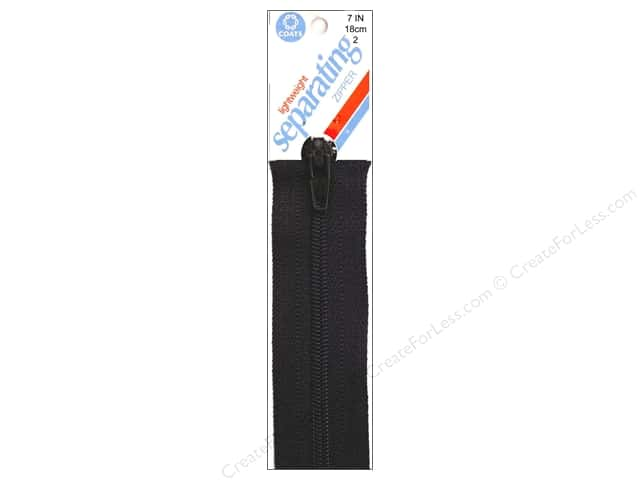 Coats Lightweight Coil Separating Zipper 7 in. Black