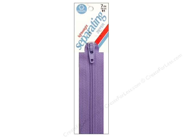 Coats Lightweight Coil Separating Zipper 7 in. Lilac