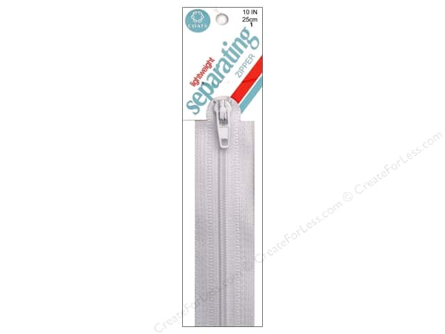 Coats Lightweight Coil Separating Zipper 10 in. White