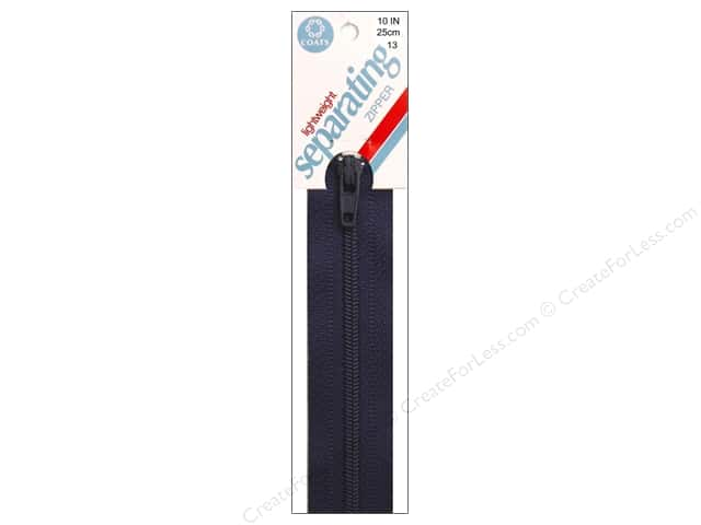 Coats Lightweight Coil Separating Zipper 10 in. Navy