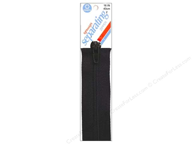 Coats Lightweight Coil Separating Zipper 16 in. Black