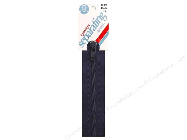 Coats Lightweight Coil Separating Zipper 16 in. Navy