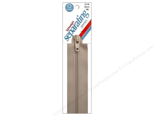 Coats Lightweight Coil Separating Zipper 16 in. Ecru