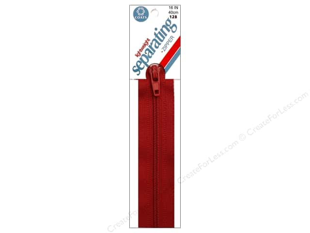 Coats Lightweight Coil Separating Zipper 16 in. Red