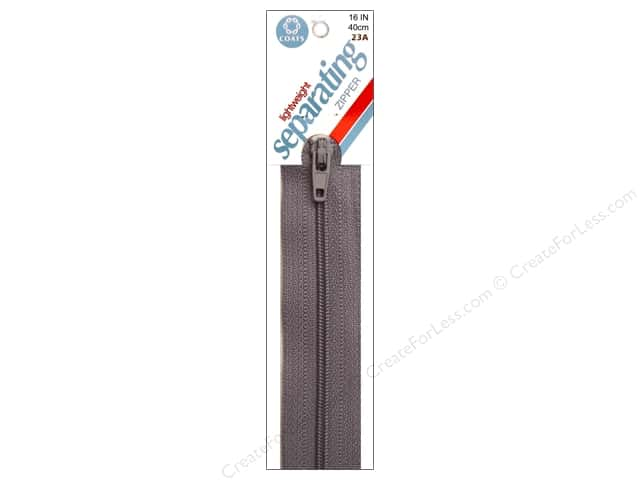 Coats Lightweight Coil Separating Zipper 16 in. Nugrey