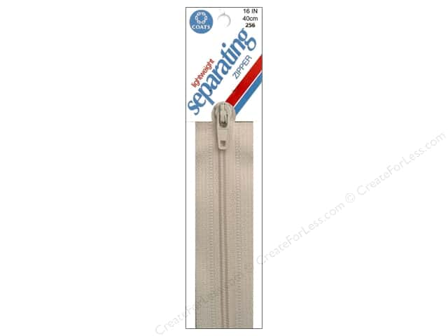 Coats Lightweight Coil Separating Zipper 16 in. Natural