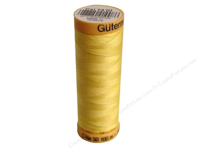 Gutermann 100% Natural Cotton Sewing Thread 109 yd. #1410 Light Yellow