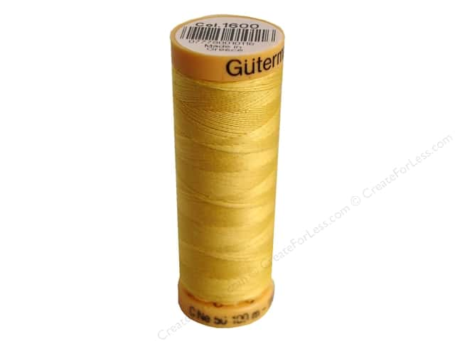 Gutermann 100% Natural Cotton Sewing Thread 109 yd. #1600 Yellow
