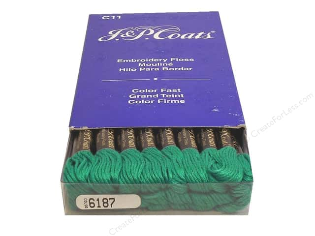J & P Coats Six-Strand Embroidery Floss #6187 Aquamarine Very Dark (24 skeins)