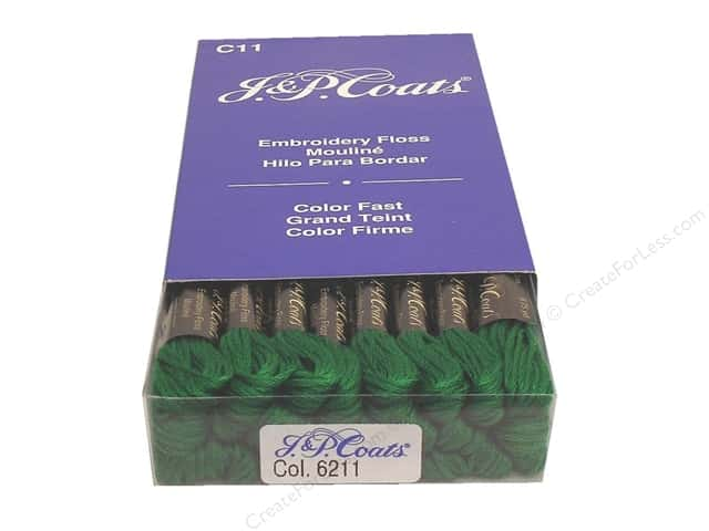 J & P Coats Six-Strand Embroidery Floss #6211 Jade Very Dark (24 skeins)