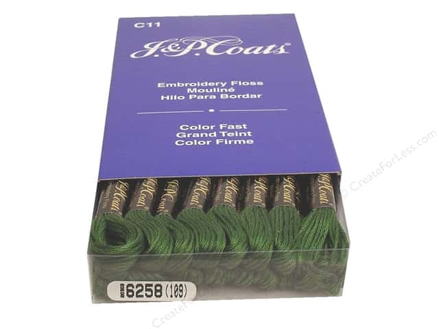 J & P Coats Six-Strand Embroidery Floss #6258 Willow Green (24 skeins)