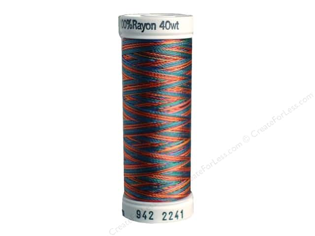 Sulky Rayon Thread 40 wt. 250 yd. #2241 Peach/Blue/Rust/Green