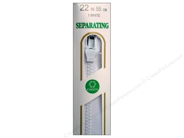 Coats Molded Separating Zipper Medium Weight 22 in. White