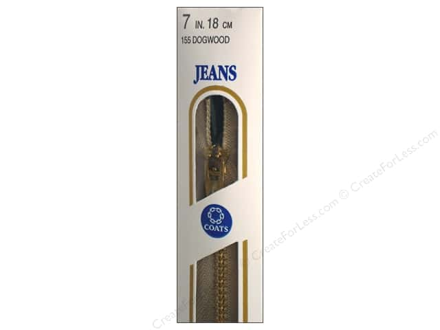 Coats & Clark #4 Brass Jean Zipper 7 in. Dogwood