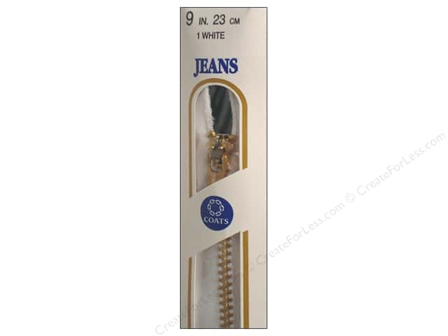 Coats & Clark #4 Brass Jean Zipper 9 in. White