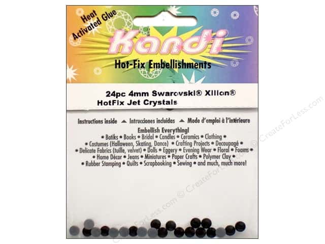 Kandi Swarovski Hotfix Crystals 4 mm 24 pc. Jet