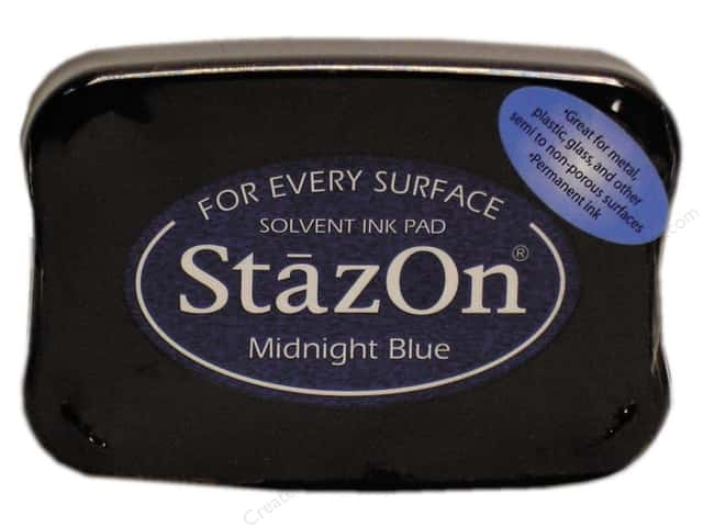 Tsukineko StazOn Large Solvent Ink Stamp Pad Midnight Blue
