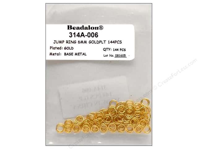 Beadalon Jump Rings 6mm Gold 144 pc.