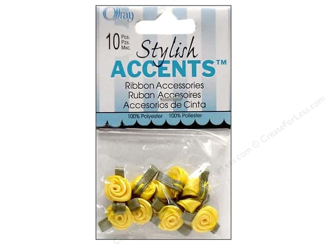 Offray Ribbon Accent Roses Small 10pc Lemon