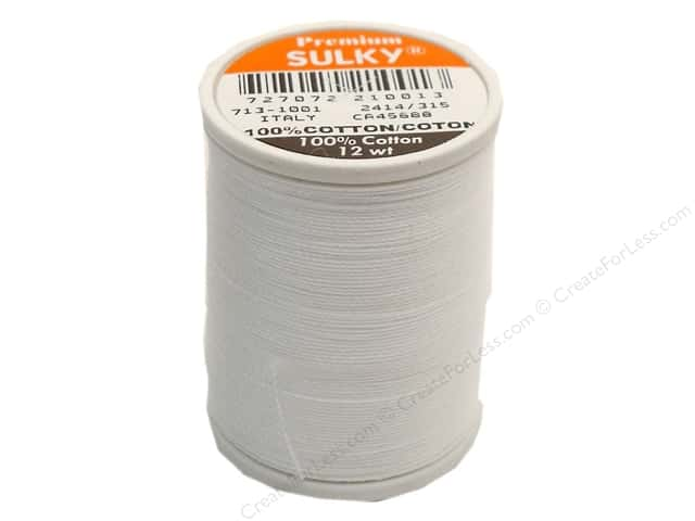 Sulky Cotton Thread 12 wt. 330 yd. #1001 Bright White