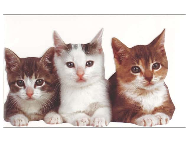 Paper House Die Cut Blank Card Three Kittens