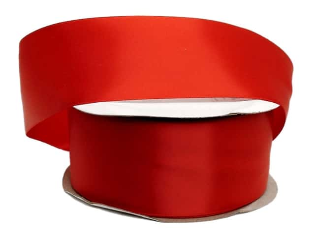 Offray Double Face Satin Ribbon 2 1/4 in. x 50 yd. Red (50 yards)