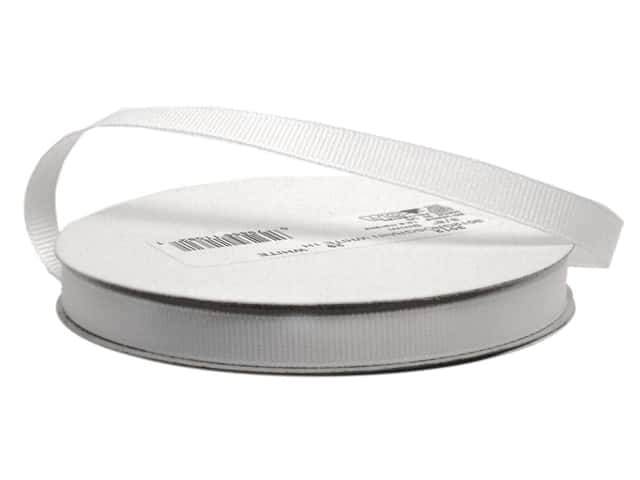 Offray Grosgrain Ribbon 3/8 in. x 20 yd. White (20 yards)