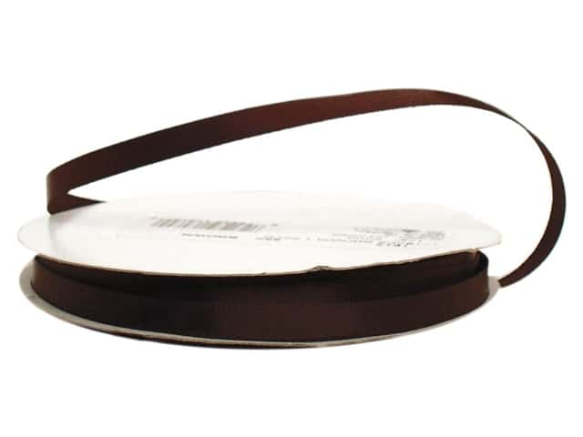 Offray Single Face Satin Ribbon 1/4 in. x 20 yd. Brown