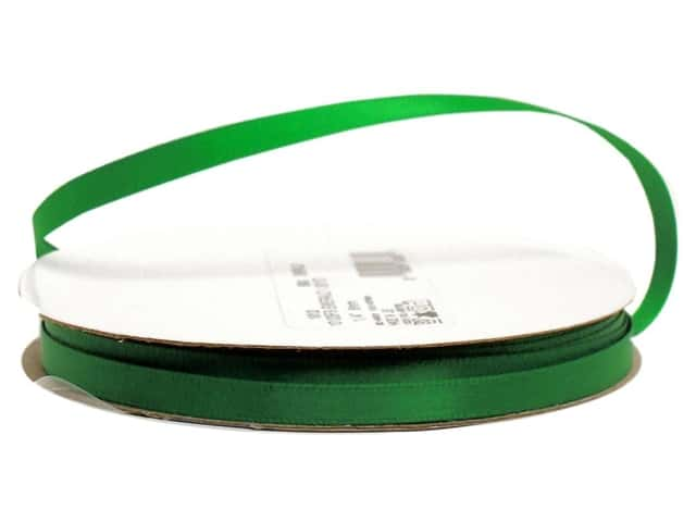 Offray Single Face Satin Ribbon 1/4 in. x 20 yd. Emerald