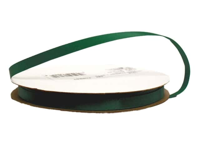 Offray Single Face Satin Ribbon 1/4 in. x 20 yd. Forest Green
