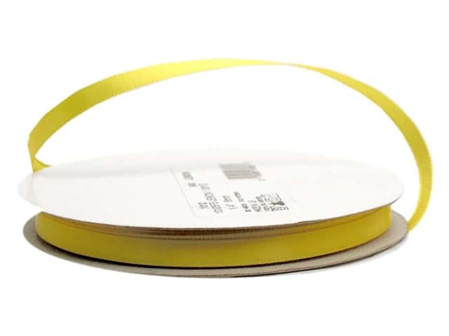 Offray Single Face Satin Ribbon 1/4 in. x 20 yd. Lemon (20 yards)