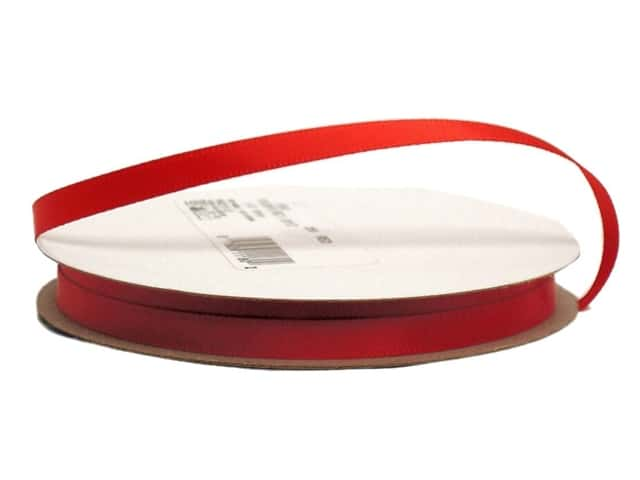 Offray Single Face Satin Ribbon 1/4 in. x 20 yd. Red