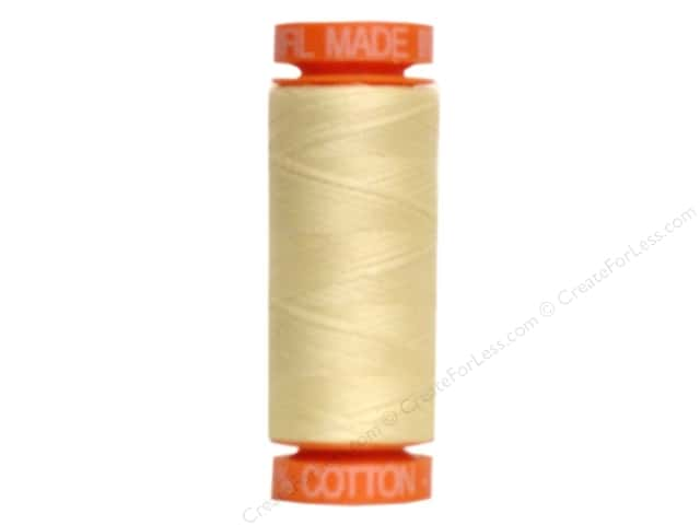 Aurifil Mako Cotton Quilting Thread 50 wt. #2110 Light Yellow 220 yd.