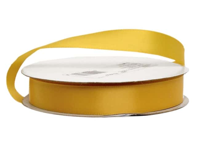 Offray Single Face Satin Ribbon 5/8 in. x 20 yd. Yellow Gold (20 yards)