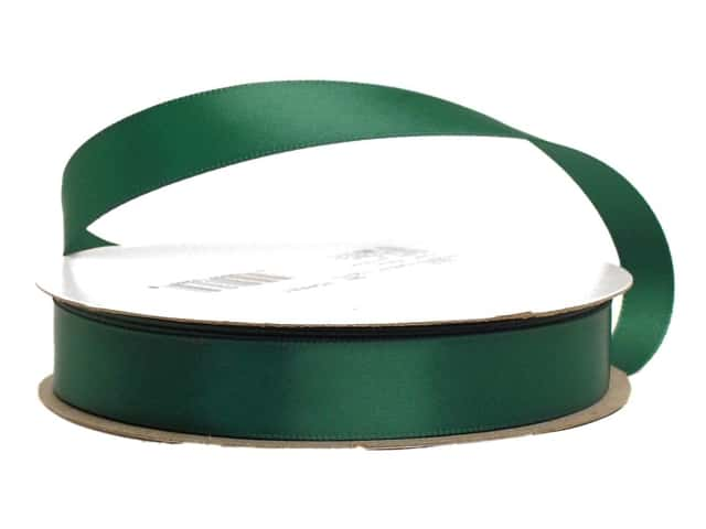 Offray Single Face Satin Ribbon 5/8 in. x 20 yd. Forest Green