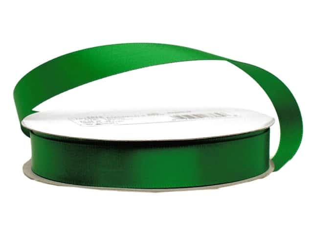 Offray Single Face Satin Ribbon 5/8 in. x 20 yd. Emerald (20 yards)