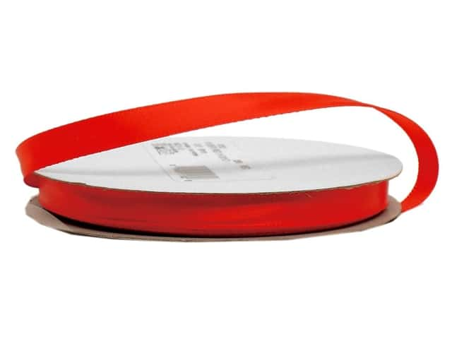Offray Single Face Satin Ribbon 3/8 in. x 20 yd. Red (20 yards)