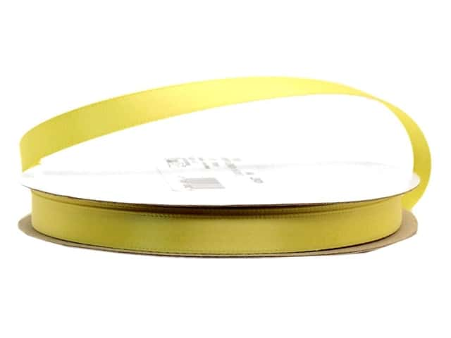 Offray Single Face Satin Ribbon 3/8 in. x 20 yd. Lemon (20 yards)