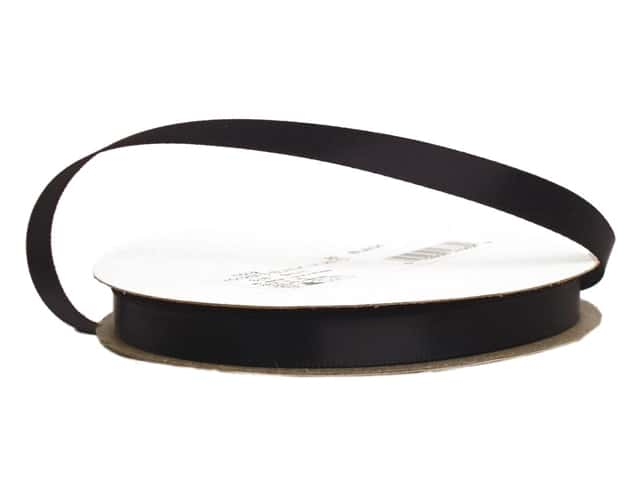 Offray Single Face Satin Ribbon 3/8 in. x 20 yd. Black (20 yards)