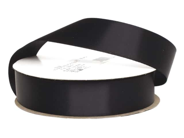 Offray Single Face Satin Ribbon 7/8 in. x 20 yd. Black (20 yards)