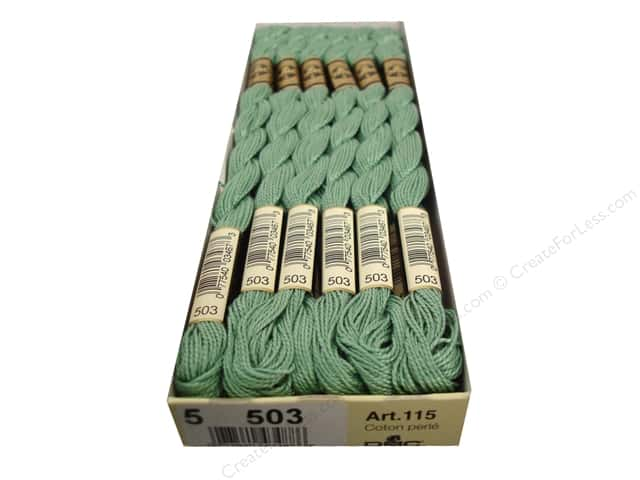 DMC Pearl Cotton Skein Size 5 #503 Medium Blue Green (12 skeins)