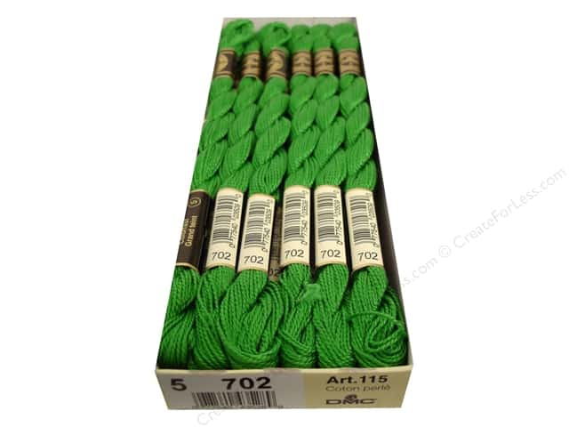 DMC Pearl Cotton Skein Size 5 #702 Kelly Green (12 skeins)