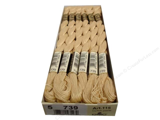 DMC Pearl Cotton Skein Size 5 #739 Ult Very Light Tan (12 skeins)