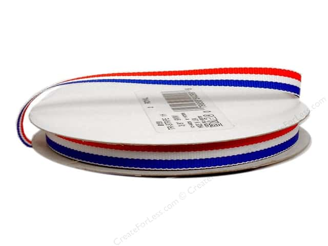 "Offray Ribbon Woven Tri-Stripe Red/ White/ Royal 3/8"" (10 yards)"