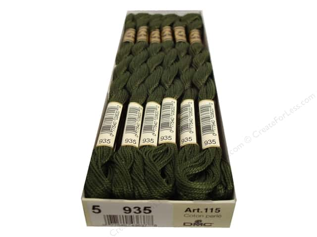 DMC Pearl Cotton Skein Size 5 #935 Dark Avocado Green (12 skeins)