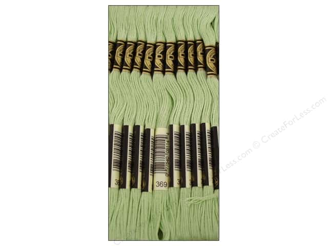 DMC Six-Strand Embroidery Floss #369 Very Light Pistachio Green (12 skeins)