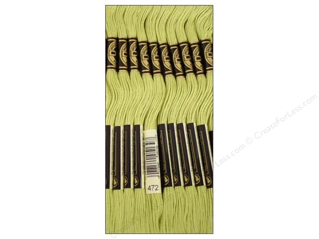 DMC Six-Strand Embroidery Floss #472 Ultra Light Avocado Green (12 skeins)