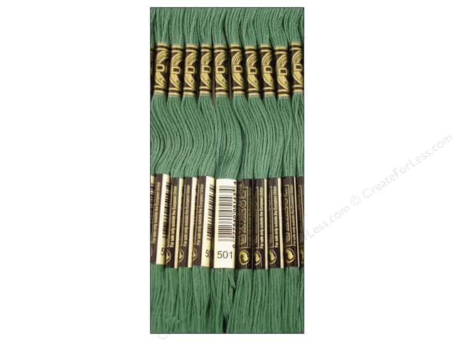 DMC Six-Strand Embroidery Floss #501 Dark Blue Green (12 skeins)