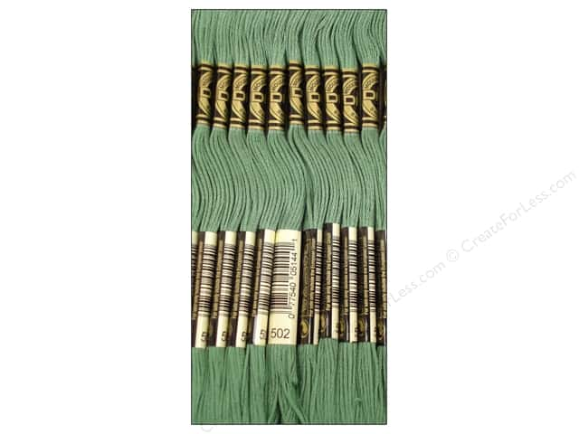 DMC Six-Strand Embroidery Floss #502 Blue Green (12 skeins)